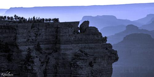 A crowd for the sunset in the Grand Canyon by Kathy Thalman